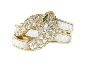 Mauboussin Diamond and Mother of Pearl Snake Ring in 18K