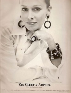 Vintage VCA Jewelry Ad Featuring the Onyx and Diamond Bracelet