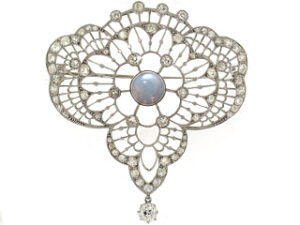 Edwardian Moonstone and Diamond Brooch