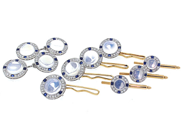 Art Deco Moonstone and Sapphire Dress Set
