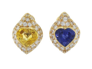 David Morris Yellow Sapphire and Blue Sapphire Earrings