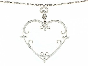 Rhonda Faber Green Filagreen Heart Pendant Necklace