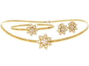Cartier Diamond Flower Necklace, Earrings and Bracelet