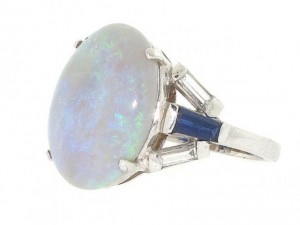 Opal, Diamond and Sapphire Ring