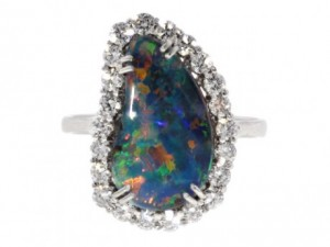 Black Boulder Opal and Diamond Ring