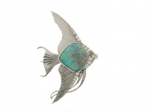 Opal and Diamond Fish Brooch in Platinum