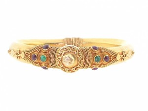 Emerald and Ruby Bangle Bracelet