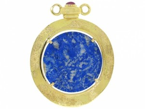 Elizabeth Gage Carved Sodalite and Ruby Pendant