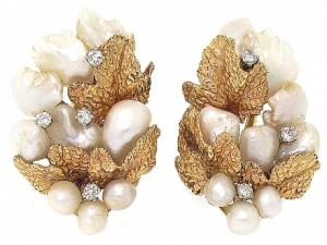 Ruser Pearl and Diamond Earrings
