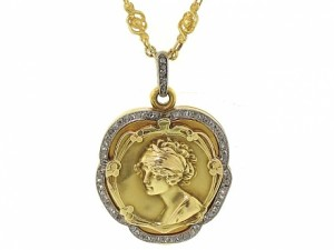Antique Art Nouveau Diamond Locket Pendant