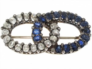 Antique Victorian Sapphire and Diamond Brooch