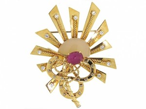Cartier Ruby and Diamond Equestrian Brooch