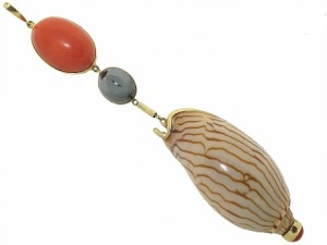 Marguerite Stix Coral, Hematite and Shell Pendant