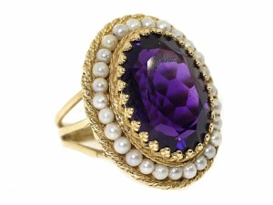 Vintage Amethyst and Pearl Ring