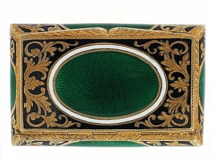 Green and White Enamel Box