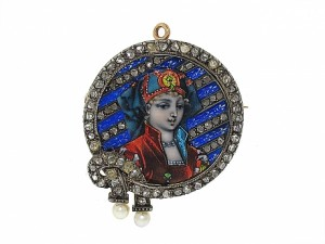 Antique Victorian Portrait Brooch With Limoges Enamel