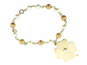 Vintage Shamrock Charm Bracelet with Cultured Pearls