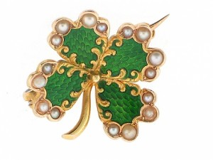 Vintage Enamel and Seed Pearl Four Leaf Clover Pin