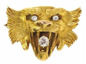 Antique Victorian Lion's Head Brooch