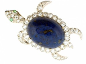 Vintage Lapis Turtle Brooch with Diamonds