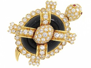 Hammerman Brothers Diamond and Black Onyx Turtle Brooch