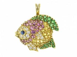 Jean Vitau Gemstone Fish Brooch/Pendant