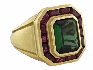 Kieselstein-Cord Green Tourmaline and Rubellite Ring