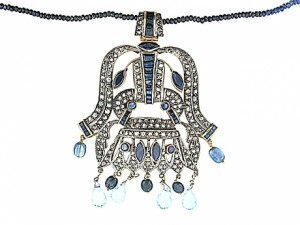 Sapphire and Cognac Diamond Necklace