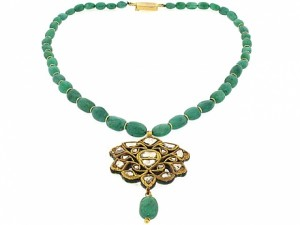 Emerald Bead and Diamond Mogul Necklace