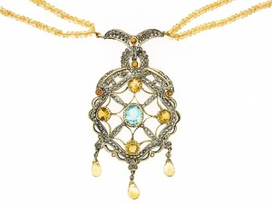 Citrine, Topaz and Cognac Diamond Necklace