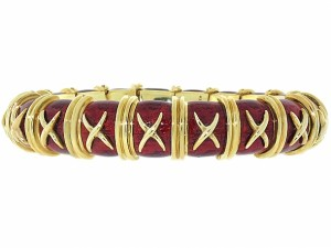 Tiffany Schlumberger Red Croissillon Enamel Bracelet
