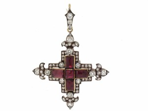 Antique Victorian Garrard Diamond Cross Pendant