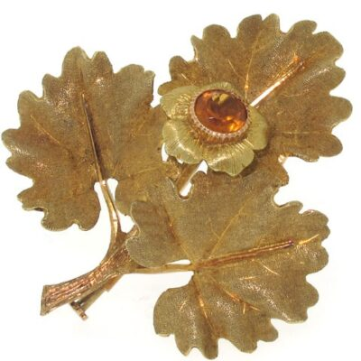 M. Buccellati Leaf Brooch with Citrine