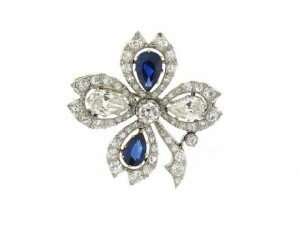 Antique Edwardian Sapphire and Diamond Clover Pin