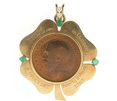 Vintage Shamrock Coin Pendant Charm with Diamonds and Emeralds