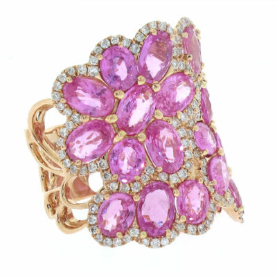 Pink Sapphire and Diamond Flower Ring