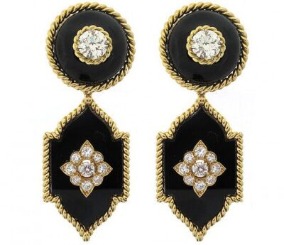 Vintage Van Cleef and Arpels Black Onyx and Diamond Earrings