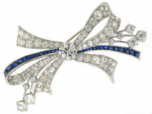 Sapphire and Diamond Bow Brooch