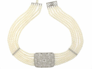 Edwardian Style Seed Pearl and Diamond Choker Necklace