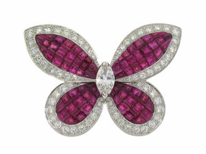 Van Cleef and Arpels Mystery Set Ruby and Diamond Butterfly Brooch