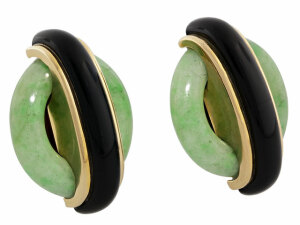 Cartier Aldo Cipullo Jade and Onyx Earrings