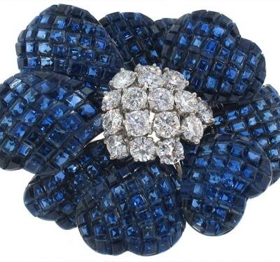 Van Cleef and Arpels Mystery Set Sapphire and Diamond Flower Brooch