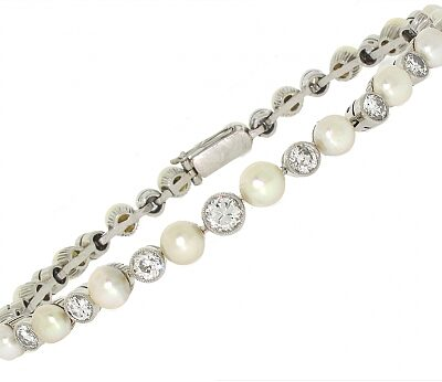 Antique Edwardian Natural Pearl and Diamond Bracelet