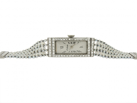 Art Deco Diamond and Natural Seed Pearl Watch