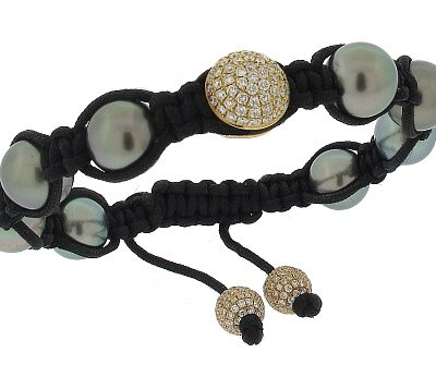 Tahitian Pearl and Diamond Shamballa Bracelet