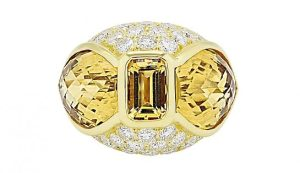 Citrine and Diamond Dome Ring in 18K