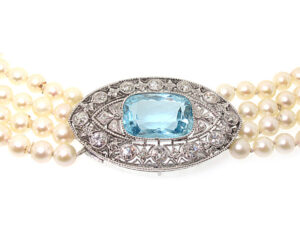 Edwardian Aquamarine and Pearl Necklace