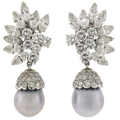 Kutchinsky Diamond and Tahitian Pearl Earrings