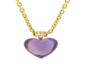 Carved Amethyst Heart Pendant