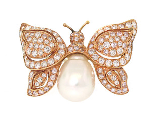 Baroque Pearl and Diamond Butterfly Brooch
